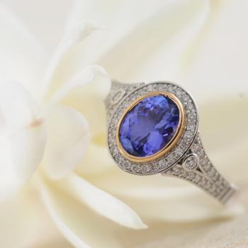 Tanzanite and Diamond Ring in 18k White and Rose Gold
