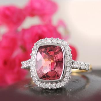 Tourmaline Pink Checkerboard Faceted Ring with Diamonds