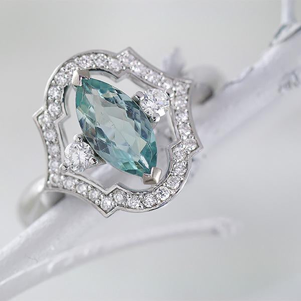 """NEVAEH"" - Pale Teal Marquise Tourmaline and Diamond Ring in 18ct White Gold"