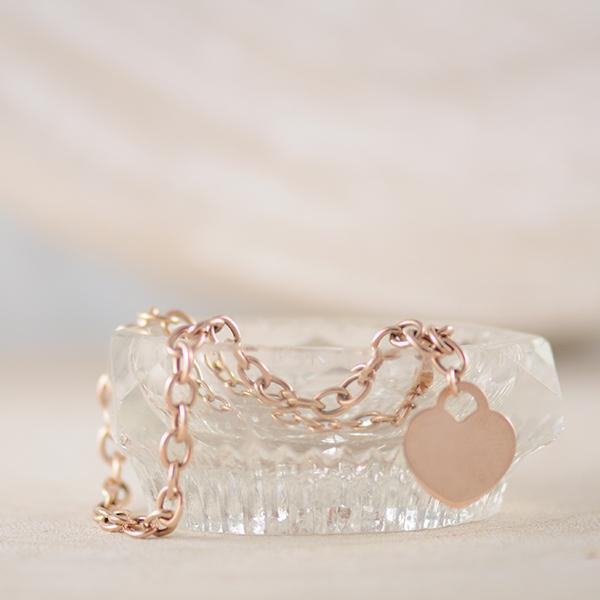 Trace Bracelet with Flat Heart in 9k Rose Gold