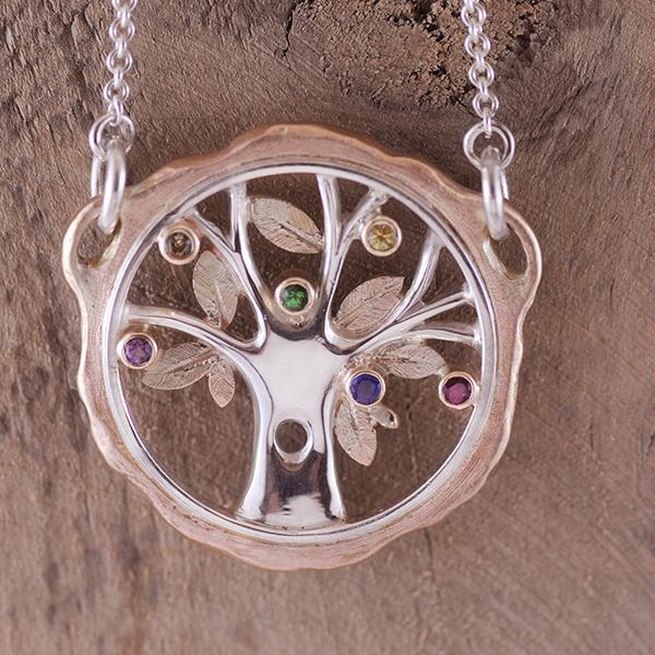 Tree of Life Two Tone Pendant Silver Rose Gold with Multi-coloured Stones