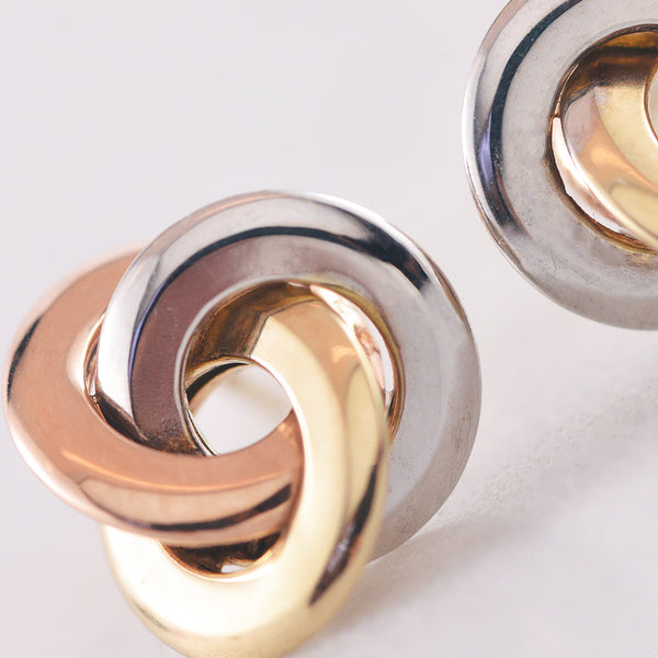 Tri Tone 9k Gold Knot Stud Earrings