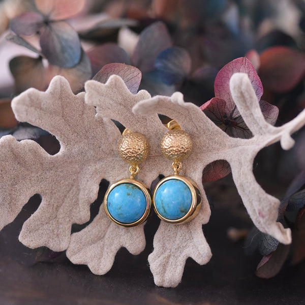 Turquoise 9ct Yellow Gold Stud Earrings