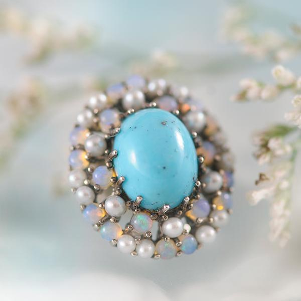 Marcasite, Pearl, Opal And Turquoise Brooch/Pendant