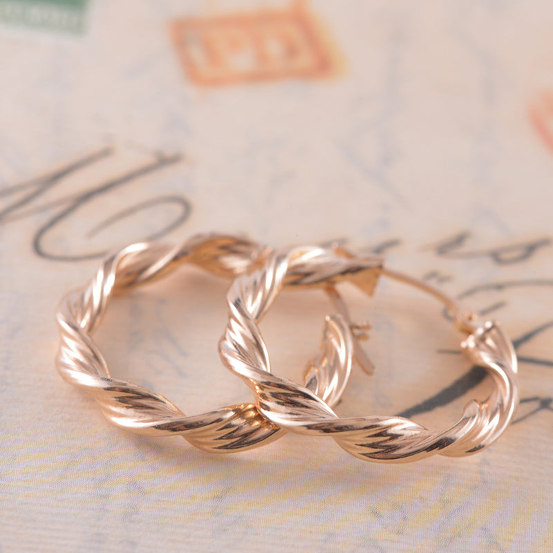 9K Yellow Gold Twisted Ribbon Textured Hoops