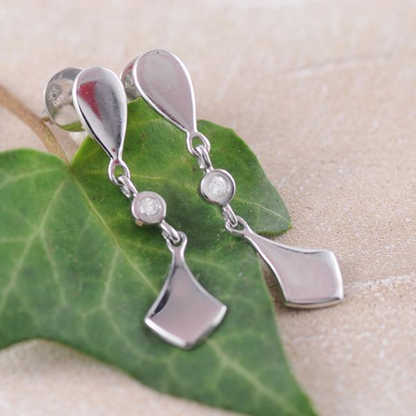 White Gold and Diamond Dangle Earrings