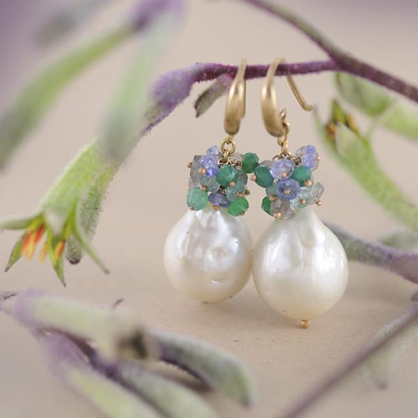 Pearl & Tourmaline Grape Drop Earrings