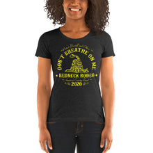 Load image into Gallery viewer, Don't Breathe Ladies' short sleeve t-shirt Blk/Yellow