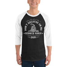 Load image into Gallery viewer, Don't Breathe Unisex 3/4 sleeve raglan shirt Blk/Wht