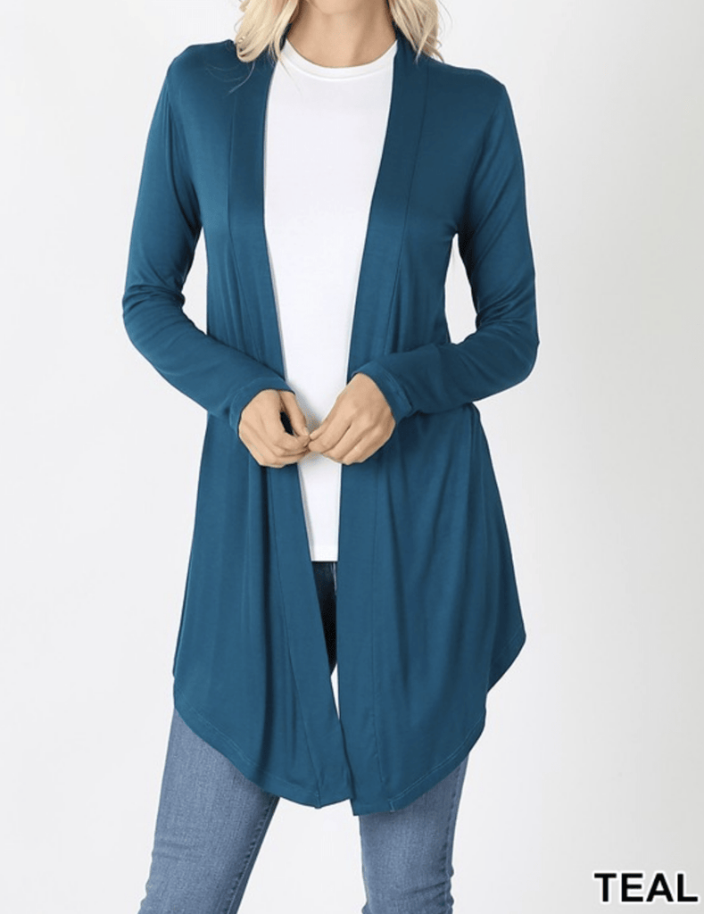 DRAPEY OPEN-FRONT LONG SLEEVE CARDIGAN Kabayare
