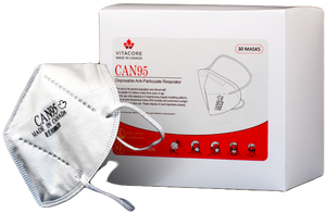 Canadian Made Premium Respirator - CAN95 - Health Canada Approved - Particulate Healthcare Respirator - 3M 1860, N95 Alternative - HEADBAND - (Case of 6 boxes/180 Masks) VITACORE