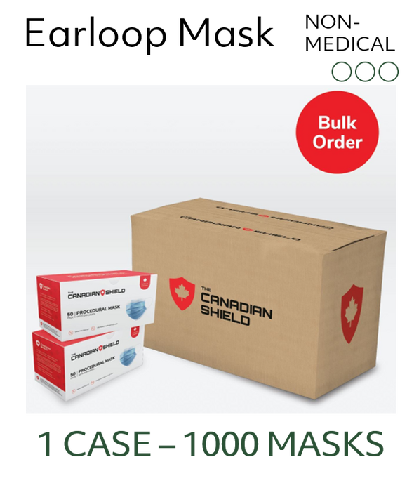 Canadian Made Premium Masks - Non-Surgical (Case of 1000 Masks)