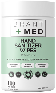 Canadian Made Premium Hand Sanitizer Wipes 70% Alcohol 100 Wipes - 9 Pack (900 wipes total)