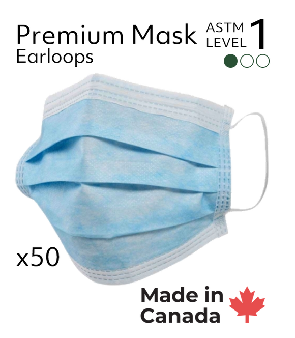 Canadian Made Premium Surgical Masks  - ASTM Level 1 (50/Box)