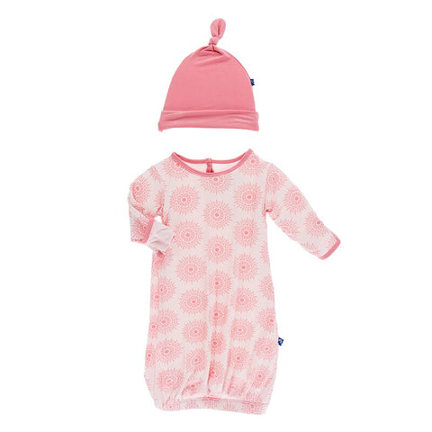 Print Layette Gown & Knot Hat Set