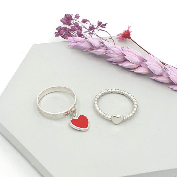 Heart charm ring and heart beaded stacking ring
