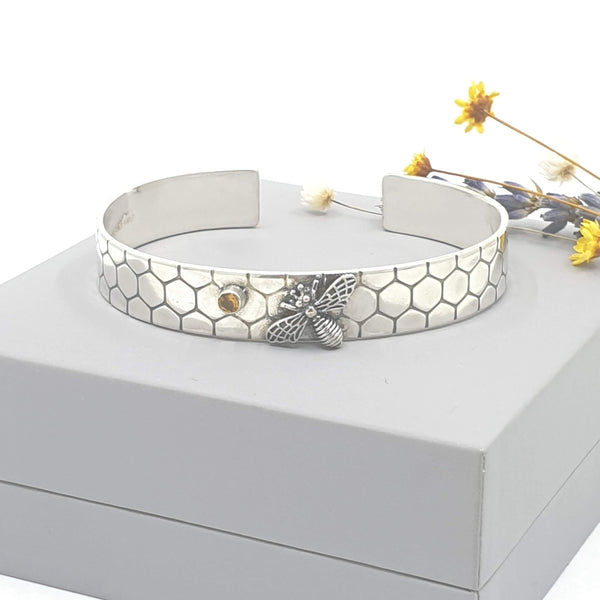 unisex honeycomb bee and citrine cuff bangle