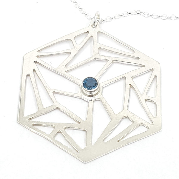 Geometric hexagon with London Blue Topaz