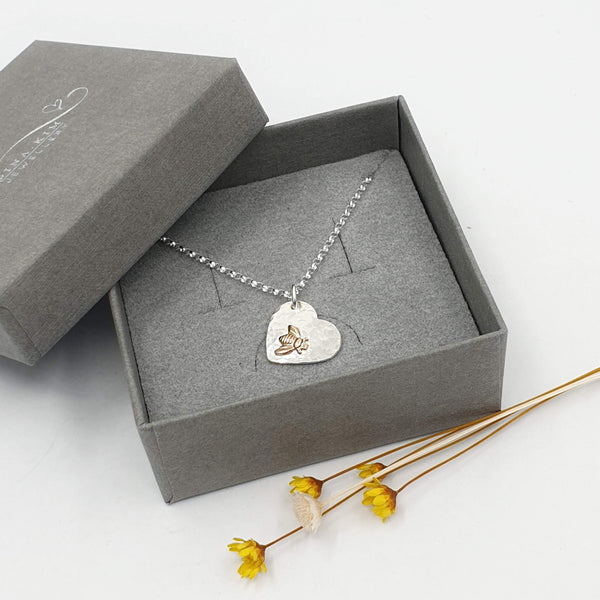 Bee heart necklace