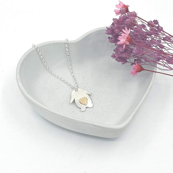 Layla lop bunny love heart necklace