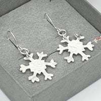 Medium sparkle drop snowflake earrings