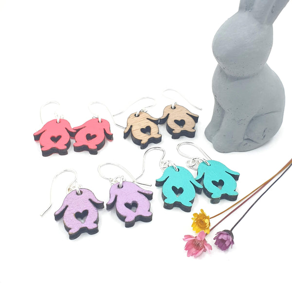 mixed colour wooden love bunny earrings