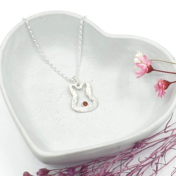 Ruby open bunny silver necklace