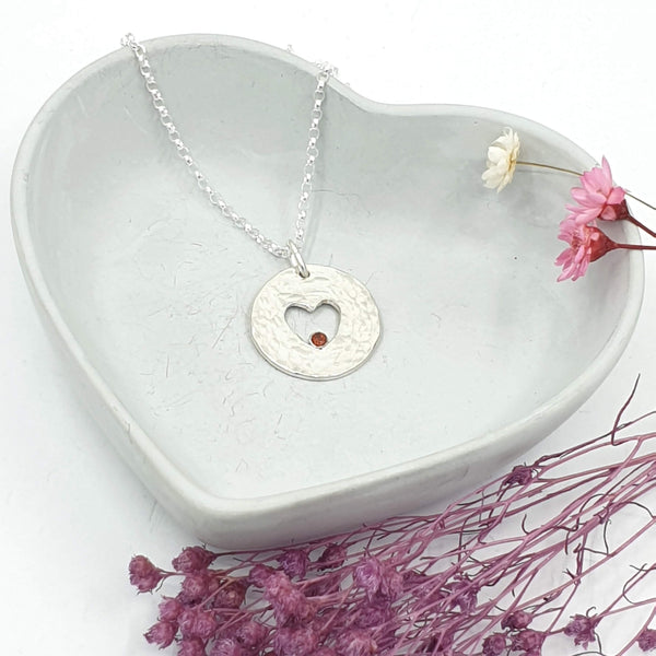 open heart necklace with garnet