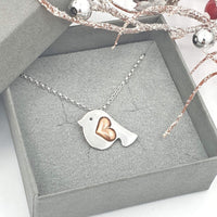 Robin necklace with copper heart wing