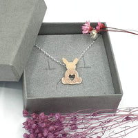 Rose Gold Georgie bunny necklace textured