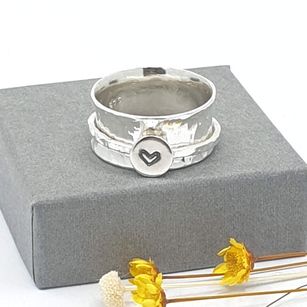 silver heart stamped spinner ring
