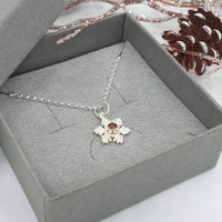Snowflake necklace with Garnet