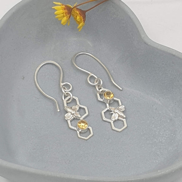 Honeycomb bee drop earrings with citrine