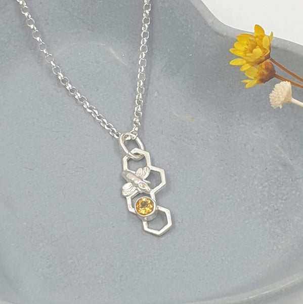 Honeycomb bee necklace with honey citrine