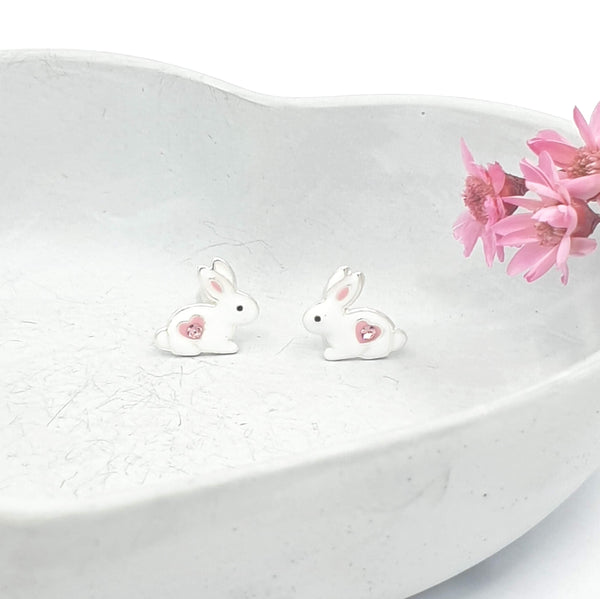 White and pink bunny stud earrings