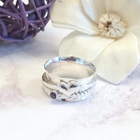 Amethyst and heart spinner ring