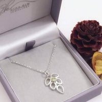 Peridot leaf necklace
