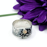 Opal and lily flower ring