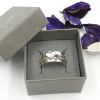 Heart and Amethyst spinner ring