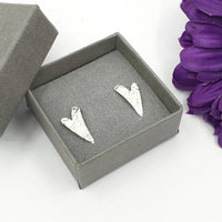 Art Deco style wavy heart stud earrings