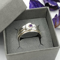 Moon and Amethyst spinner ring