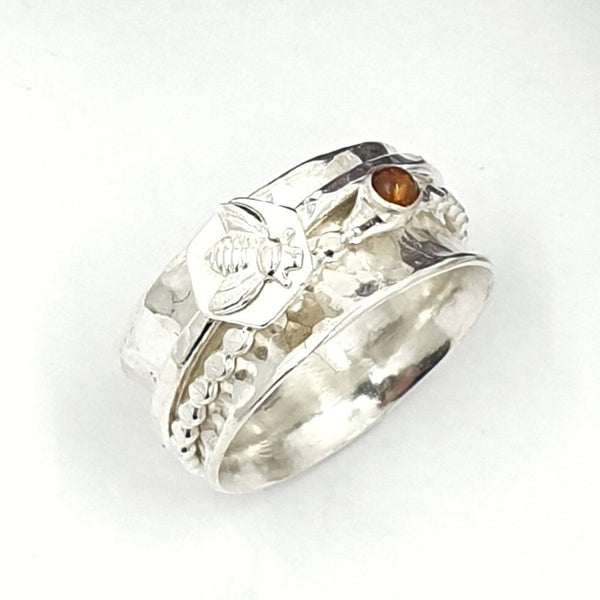 bee honeycomb and Amber spinner ring