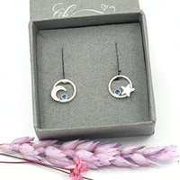galaxy moon and star earrings