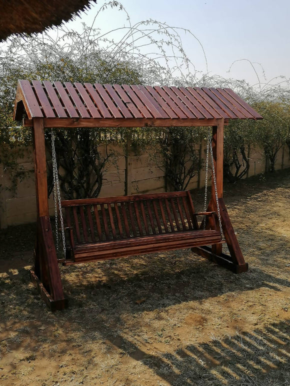 Wooden Swing Bench with Canopy
