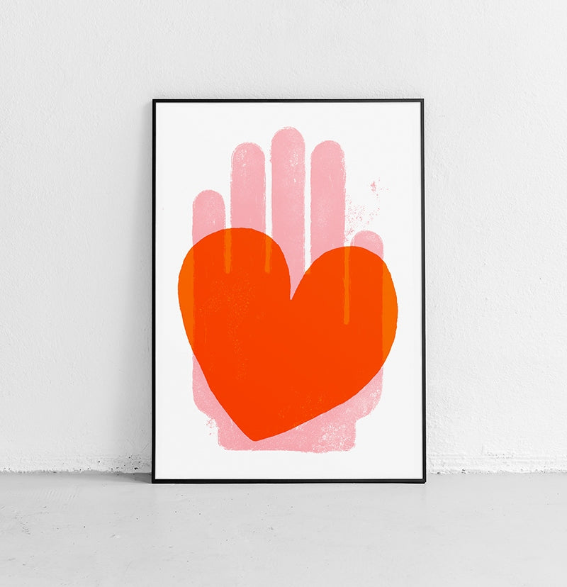 Red heart and pink hand graphic art print illustration
