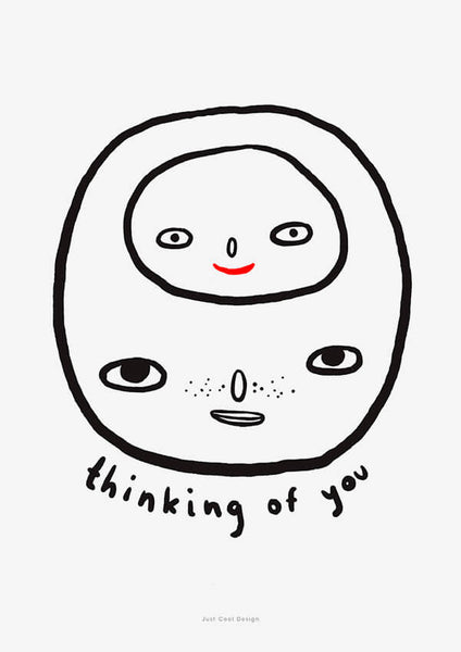 thinking of you is a black and white line art illustration with a head inside another head.
