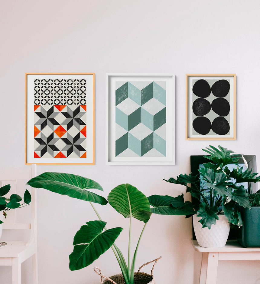 Gallery wall with abstract geometric wall art and Barcelona poster with hydraulic tiles print in minimalist nordic home decor.