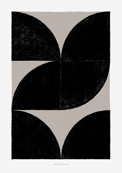 Black and white abstract wall art with geometric pattern