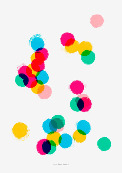 confetti wall art, colorful wall art with abstract circles and dots in primary colors