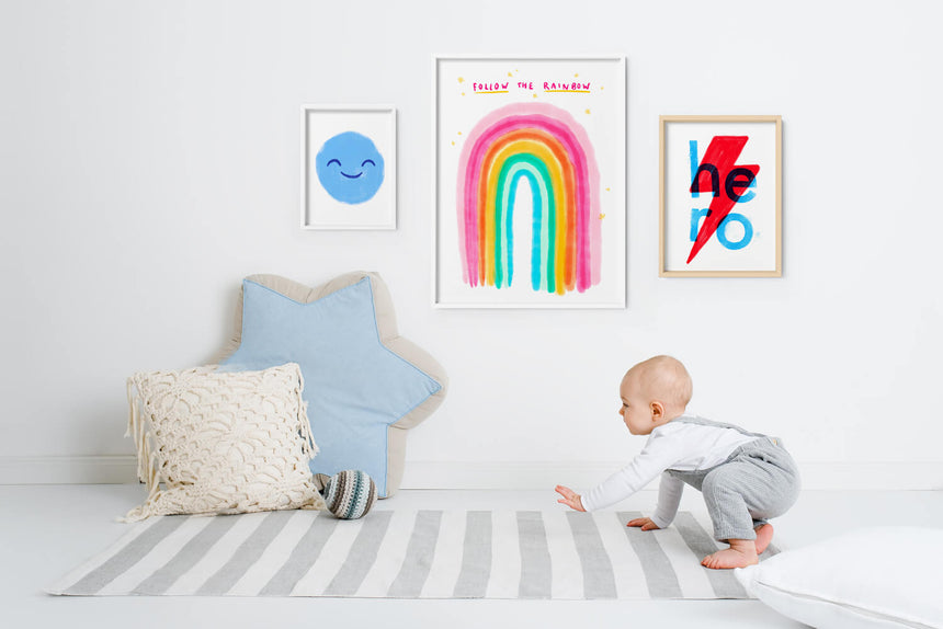 Cool nursery art and cool nursery prints illustrated by Just Cool Design in modern kids room decor. Cool kids posters.